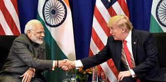 PM Narendra Modi and Trump shaking hands during ASEAN Summit